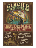 Glacier National Park - Trout Outfitters Affiches par Lantern Press 