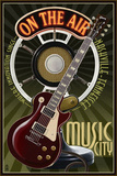 Nashville, Tennessee - Guitar and Microphone Prints by Lantern Press