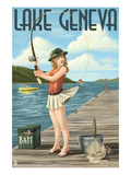 Lake Geneva, Wisconsin - Pinup Girl Fishing Prints by  Lantern Press