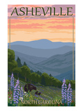 Asheville, North Carolina - Spring Flowers and Bear Family Poster by  Lantern Press