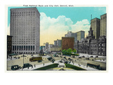 Detroit, Michigan - First National Bank, City Hall Exterior Posters by Lantern Press