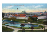 Sacramento, California - Panoramic View of Sutter's Fort Art by  Lantern Press
