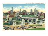 Kansas City, Missouri - Union Station and Skyline View Poster by  Lantern Press