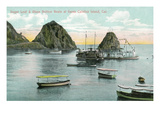 Santa Catalina Island, California - Sugar Loaf and Glass Bottom Boats View Prints by  Lantern Press