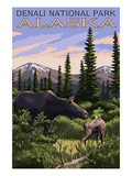 Denali National Park, Alaska - Moose and Calf Art by  Lantern Press