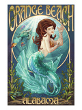 Orange Beach, Alabama - Mermaid Poster von  Lantern Press