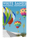 White Sands National Monument, New Mexico - Hot Air Balloons Prints by Lantern Press 