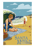 Santa Monica, California - Woman on the Beach Prints by  Lantern Press