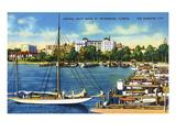 St. Petersburg, Florida - Central Yacht Basin Scene Kunstdruck von  Lantern Press