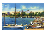 St. Petersburg, Florida - Central Yacht Basin Scene Poster by  Lantern Press