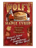Wolf's Maple Syrup - New York Pôsteres por Lantern Press
