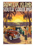 Pawleys Island, South Carolina - Woodies on Beach Poster by Lantern Press 