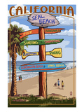 Seal Beach, California - Destination Sign Prints by Lantern Press