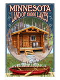 Minnesota - Cabin and Lake Affiches par Lantern Press