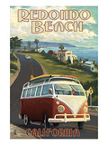 Redondo Beach, California - VW Van Cruise Art by Lantern Press