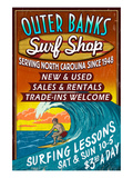 Outer Banks, North Carolina - Surf Shop Prints by  Lantern Press