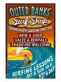 Outer Banks, North Carolina - Surf Shop Poster by  Lantern Press