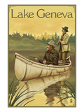 Lake Geneva, Wisconsin - Hunters in Canoe Prints by Lantern Press
