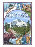 Montana Scenes Montage Prints by  Lantern Press
