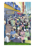 St. Petersburg, Florida - View of Crowds and Famous Green Benches Art by  Lantern Press
