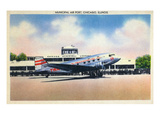 Chicago, Illinois - Transcontinental Airplane at Municipal Airport Poster by  Lantern Press