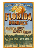 Florida - Orange Orchard Sign Kunstdruck von Lantern Press