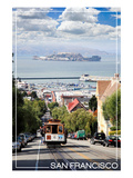 San Francisco, California - Cable Car and Alcatraz Island Posters by  Lantern Press