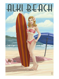 Surfer Pinup Girl - Alki Beach - Seattle, WA Poster by  Lantern Press