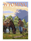Cowboy and Horse in Spring - Wyoming Prints by  Lantern Press