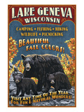 Lake Geneva, Wisconsin - Black Bears Lámina giclée prémium por  Lantern Press