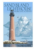 Sand Island Lighthouse - Mobile Bay, Alabama Poster von  Lantern Press
