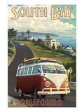 South Bay, California - VW Van Cruise Poster by Lantern Press