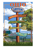 Dayton, Ohio - Signpost Destinations Posters by Lantern Press