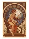 Woman and Bird - Art Nouveau Prints by  Lantern Press