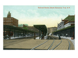 Troy, New York - South Entrance View of Railroad Station Prints by Lantern Press 