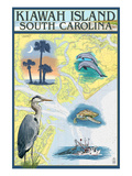 Kiawah Island, South Carolina - Nautical Chart Poster von  Lantern Press