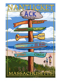 Nantucket, Massachusetts - Sign Destinations Print by  Lantern Press