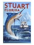 Stuart, Florida - Marlin Fishing Scene Affiches par  Lantern Press