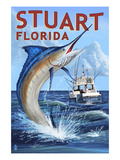 Stuart, Florida - Marlin Fishing Scene Prints by  Lantern Press