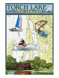 Torch Lake, Michigan - Nautical Chart Poster by  Lantern Press