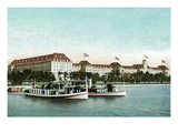Palm Beach, Florida - Royal Poinciana Hotel View from Water Print by  Lantern Press
