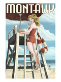 Montauk, New York - Pinup Girl Lifeguard Prints by  Lantern Press