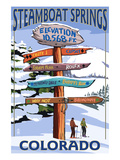 Steamboat Springs, Colorado - Ski Run Signpost Prints by Lantern Press 