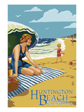 Huntington Beach, California - Woman on Beach Print by  Lantern Press