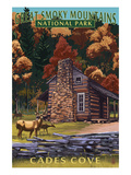 Cades Cove and John Oliver Cabin - Great Smoky Mountains National Park, TN Poster von Lantern Press
