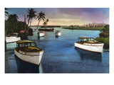 Boca Raton, Florida - Deep Sea Fishing Fleet Scene Poster von  Lantern Press