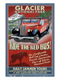 Glacier National Park - Red Jammer Poster by  Lantern Press