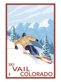 Vail, CO - Downhill Skier Art by  Lantern Press