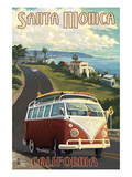 Santa Monica, California - VW Van Cruise Print by Lantern Press 
