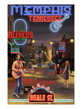 Memphis, Tennessee - Memphis at Night (Beale Street) Prints by  Lantern Press